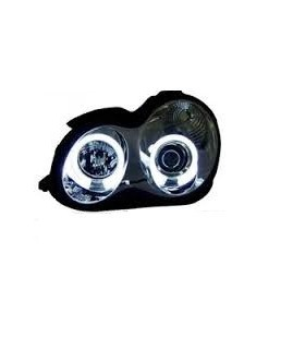 FAROIS ANGEL EYES CCFL / MERCEDES C W203 / 00-07 FUNDO CROMADO