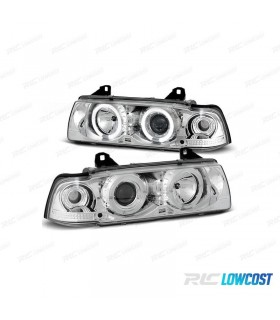 FAROIS ANGEL EYES CCFL / BMW E36 SEDAN 4P / 92-98 FUNDO CROMADO