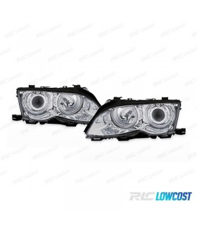 FAROIS ANGEL EYES CCFL / BMW E46 BERLINA / 01-05 FUNDO CROMADO
