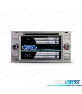 "AUTO RADIO 2DIN 7"" FORD QUADRADO COR CINZA USB GPS TACTIL HD"
