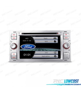 "AUTO RADIO 2DIN 7"" FORD QUADRADO COLOR CINZA PRATEADO USB GPS TACTIL HD"