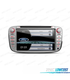 "AUTO RADIO 2DIN 7"" FORD REDONDO COR CINZA USB GPS TACTIL HD"