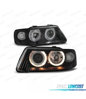 FARÓIS FRONTAIS AUDI A3 8L ANGEL EYES (9/00-3/03). FUNDO PRETO