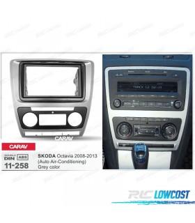 MOLDURA / ADAPTADOR CINZENTO PARA RADIO 2-DIN SKODA OCTAVIA 08-13 (CON AIRE ACONDICIONADO AUTOMÁTICO)