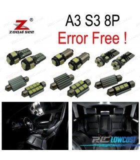 Kit completo de 20 lâmpadas LED interior para 2003-2013 Audi A3 S3 8 P 3 puerta Y 5 puerta Sportback