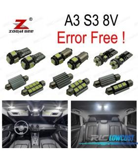 Kit completo de 15 lâmpadas LED interior para Audi A3 S3 8 V sedán Quattro Sportback limusina (2014 +)