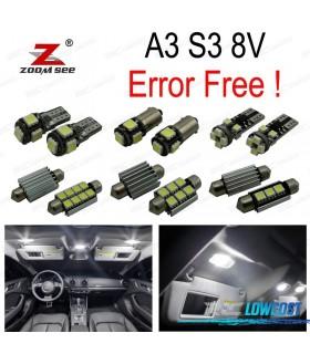 Kit completo de 17 lâmpadas LED interior para Audi A3 S3 8 V sedán Quattro sportback (2014 +)