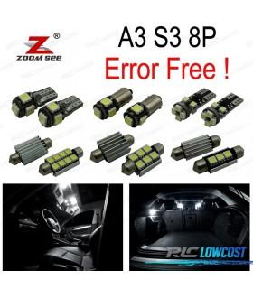 Kit completo de 12 lâmpadas LED interior para Audi A3 S3 8 p (2006- 2013)