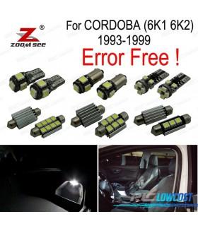 Kit completo de 7 lâmpadas LED interior para accesorios de asiento Córdoba 6 k 1 6K2 (1993-1999)
