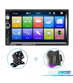 AUTO RADIO 2DIN 7 TÁCTIL CARPLAY BLUETOOTH USB SD + CAMARA DE MARCHA ATRÁS